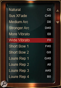 Adagio Violins' 30 core patches contain many keyswitchable options, displayed in the Instrument Browser window.