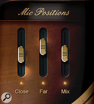 Adagio Violins' three microphone options: (from left) Close, Far, and Mix (a blend of close and far). Clicking on the light under the fader unloads the samples for that position.