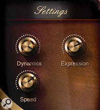 Depending on which patch you load, the 'Settings' pane displays acombination of Dynamics (last received value of MIDI CC1/ Mod wheel data), Expression (last received value of MIDI CC11/Expression pedal data), Speed (of legato note transition or portamento), Tightness (of note attack) and Release Volume.