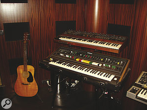 """We could choose from around 20 keyboards, always ready to use... and place them as we wanted."" From top: Sequential Prophet 5 and Yamaha CS60; Moog Memorymoog, Yamaha DX7 and Manikin Electronic Memotron; Moog Minimoog, Korg MS20, Roland SH101, PPG Wave, Solina String Ensemble and Elektron Monomachine."