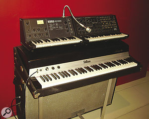More vintage AIR keyboards: Korg VC10 vocoder and MS20 synth, Fender Rhodes 'suitcase' electric piano; ARP 2600 synth.