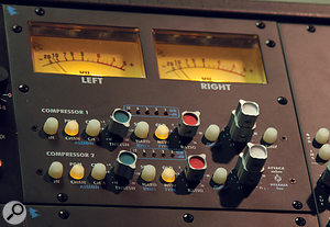 The two-channel compressor can easily be patched into the recording path or the summing bus.