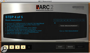 The process of measuring your room and speakers is made very simple by helpful prompts from the ARC software.