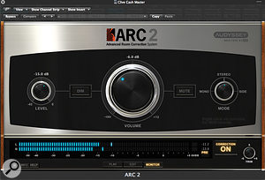 The ARC 2 plug-in's monitor controller page includes Dim, Mute and various stereo options, as well as aMIDI-controllable volume knob.