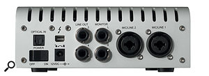 The Apollo Twin's single pair of analogue inputs are augmented by an optical socket which can accept either stereo S/PDIF or eight-channel ADAT-format digital input.
