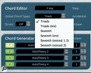 AutoTheory provides a  number of global chord settings that you can use as a  starting point for building your own presets.