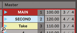 Scene tempo and time signature now have their own fields in the Master track column.