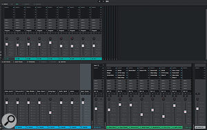 The Updated, detachable Mixer view in MPC Software with split active pads view.