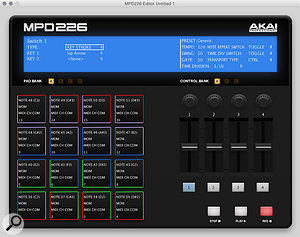 The MPD2 Software Editor. Buttons can be assigned to keyboard commands as well as MIDI.