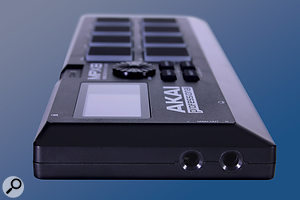 The MPX8's quarter-inch stereo outputs. At the other end of the unit are the MIDI sockets (on 3.5mm jacks) and the USB port.