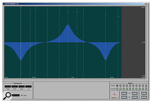 Classic PEQ Blue features multiple classic EQ models and seems aimed at mixing applications. The various models in Blue generate noticeably different EQ curves for the same parameter settings: compare this Blue screenshot with that of the Red screenshot above.