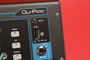 The Qu–Drive USB port facilitates multitrack recording direct to a  USB disk.