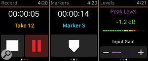The three pages of Apogee's Metarecorder running on an Apple Watch let you control the core functionality of the app running on your iPhone. The red line indicates the app is recording.