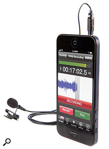 The SmartLav with the Rode Rec recording app.
