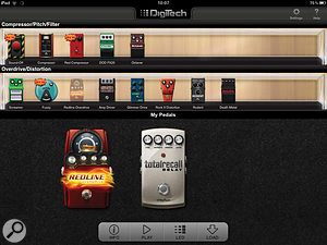 Digitech's Stomp Shop app, showing the pedals available to buy at the top and those supplied free with the iStomp at the bottom.