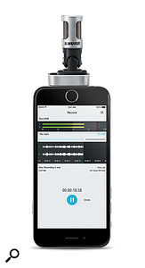 The MV88 sits neatly atop — or, rather, neatly abottom — your iOS device.