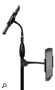 Make your own iPad tree: The HyperPad can be attached to a mic stand in several different way.