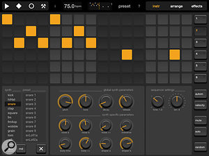 Elastic Drums' Sequencer page, where the sound editing and sequencing of drum parts takes places.