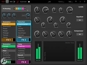 As well as the four user-configurable effects slots, there is also amaster section with EQ, compression and acool stutter effect with an X-Y controller.
