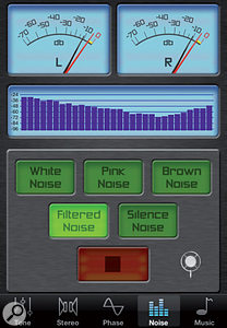 Five noise types are offered by Audio Audit, for various testing purposes.