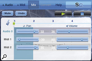 SongCatcher's main arrangement page is uncluttered, with a simple overlay serving as  a mixer.