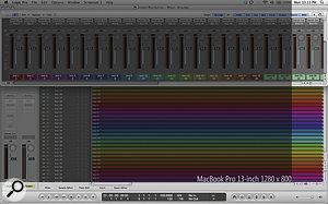 This screenshot shows how many tracks and mixer channels you can expect to see when running Logic. The resolution of the 13‑inch MacBook Pro is illustrated by the darker rectangle as acomparison.