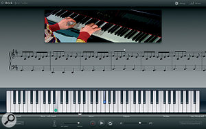 With GarageBand '09's new Artist Lessons feature, you can learn to play a song by a popular artist, such as 'Brick' by Ben Folds, complete with video, synchronised notation, and an instrument display that even shows the appropriate fingering.