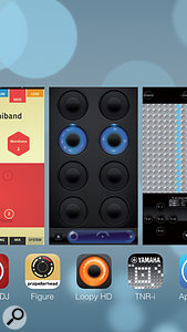 The lovely new full-screen app switcher in iOS 7. But for the time being iOS-based musicians will be better off staying with iOS 6.