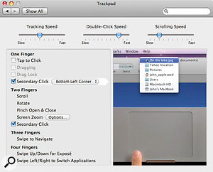 The Trackpad System Preferences page enables you to configure the behaviour of the trackpad, and observe how the various two‑, three‑ and four‑finger gestures are performed. Since the whole surface is now abutton, you can set the bottom corners of the trackpad to perform asecondary click if you press in that area.