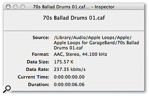 Here you can see two Inspector windows for the same loop: one is the AIFF version supplied with Logic and previous versions of GarageBand (top), and one is the CAF version supplied with GarageBand '08 (bottom). Notice the big difference in file size and data rates.