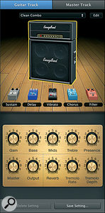 GarageBand '09 offers a new Electric Guitar track type, providing an on‑screen guitar rig with virtual stomp boxes.