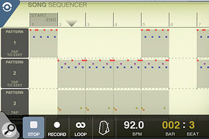 BeatMaker's Sequencer view is reminiscent of desktop sequencers and enables you to toggle which patterns play in which bars of the song.
