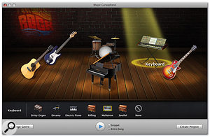 Magic GarageBand provides a back-room club environment for you to choose what instruments you want in your band. I guess it's a sign of the times that adding even virtual cigarette smoke to this image would probably be illegal...
