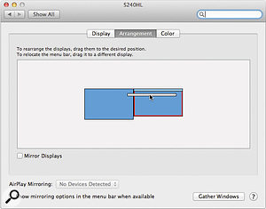 Do the basic configuration of your multiple-monitor setup in System Preferences.