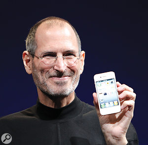 Steve Jobs unveiling the iPhone 4 at the Apple Worldwide Developers Conference in June 2010.