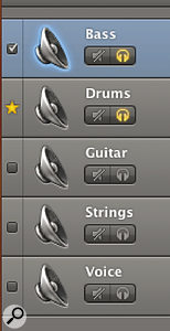 Choosing a Groove Track and selecting which tracks conform to that groove is as simple as ticking a box in GarageBand '11.