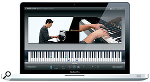 GarageBand 09 provides 18 Basic Lessons to help beginners learn either the guitar or piano.