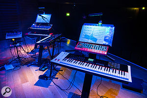 With extremely limited time available for the stage setup, each individual synth station had been pre-prepared as much as possible, and its position on the stage 'spiked' with adhesive tape (visible next to the stands on the left).