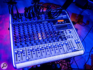 Modestly capable: the on-stage Behringer QX1832USB mixer.