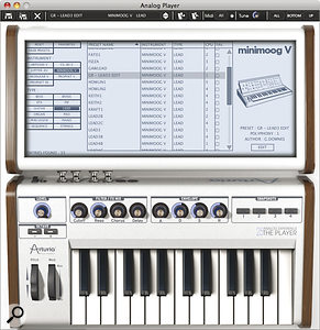 The Player's 25‑note keyboard and its controls are echoed in the on‑screen version, but with extra knobs rather than shifted functions.