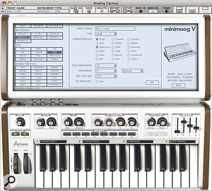 The Factory's extended editing and preset selection capabilities are immediately visible. Note the readouts immediately above the keyboard that show which parameters are assigned to the Key Parameter knobs.