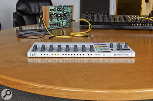 The Beatstep Pro's 3.5mm sequencer and drum gate outputs are colour–coded to match their front-panel sections.