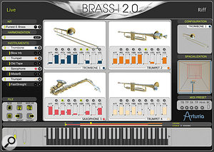 The main interface of Brass 2.0, in Live mode. Here all four sound slots are loaded with instruments, and several take advantage of the in‑built automation system for some of their parameters.