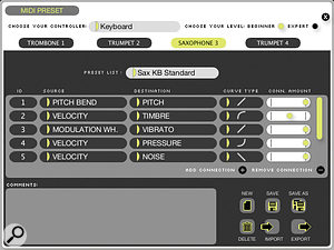 The MIDI Preset editor opens up in the central area of the main window, and lets you assign various MIDI controllers to instrument parameters.