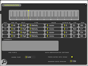 Onboard harmonisation makes it easy to generate harmonically rich horn sections and octave doubling by playing just single notes. Presets are supplied, or you can roll your own in adedicated editor.