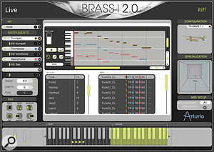 Brass 2.0's Riff mode offers ready‑rolled phrases, categorised by style, triggered from MIDI keys, and all capable of being transposed or re‑harmonised on the fly. Your keyboard input is essentially split, as the screen shot shows, with triggering occurring on one side, and optional chord playing to indicate the harmony on the other. It's easy to edit the supplied Riffs, or make your own from scratch, and instrument parameter automation data can be entered directly into the mini‑sequencer, allowing for great programming depth.
