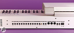 At the back of the Origin Keyboard are aheadphone output, quarter‑inch sockets for stereo inputs, master outputs and eight auxiliary outputs, an S/PDIF output, sockets for an expression pedal and afootswitch, MIDI In, Out and Thru, aUSB port and asocket for the external PSU.