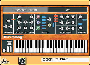 The Minimoog template sits on top of an Origin configuration that is similar in form and sound to agenuine MInimoog, and it encourages you to create and play patches as you would on the original synth. Extra LFO and modulation capabilities are tucked away behind their respective buttons at the top of the screen.