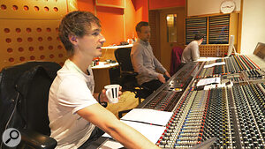 Auddict's Dorian Marko (left) and engineer Jeremy Murphy at Angel Studios' Neve VXS desk.