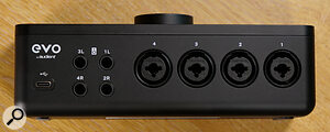 The EVO 8's back panel features four combi jack inputs and four quarter‑inch audio outs.